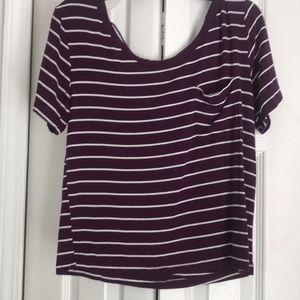 short sleeve burgundy striped tee